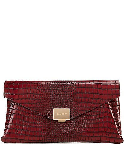 Gianni Bini Envelope Flap Crocodile-Embossed Crossbody Clutch