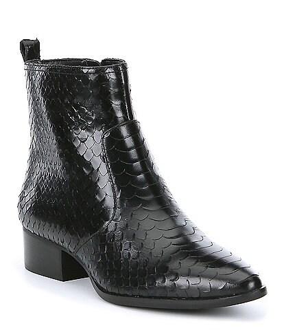 Gianni Bini Esplin Snake Printed Leather Block Heel Booties