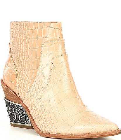 Gianni Bini Eviee Luxury Croc Embossed Pointed Toe Metal-Heel Western Booties
