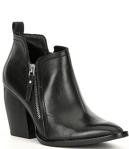 Gianni Bini Eyddie Leather Double Zip Block Heel Western Ankle Booties