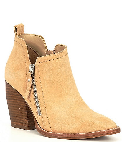 Gianni Bini Eyddie Suede Double Zip Block Heel Western Ankle Booties