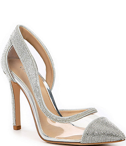 Gianni Bini FalennTwo Clear Rhinestone Embellished Pointed Toe Pumps