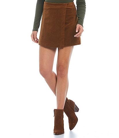 Gianni Bini Faux Wrap High Rise Corduroy Belle Mini Skirt