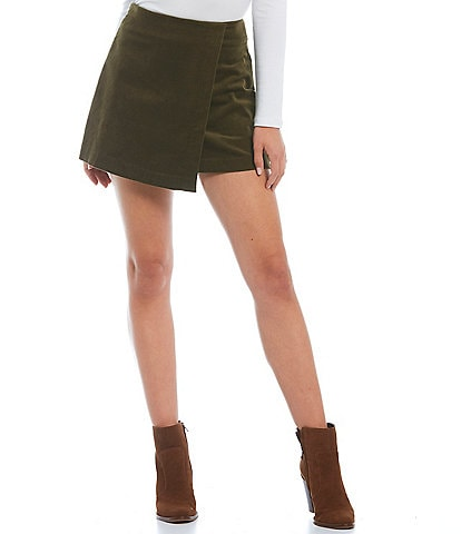 Gianni Bini Belle Faux Wrap High Rise Corduroy Mini Skirt