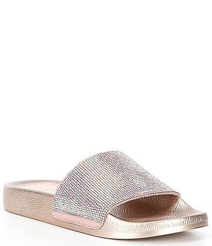 Gianni Bini Fyffer Embellished Suede Pool Slides