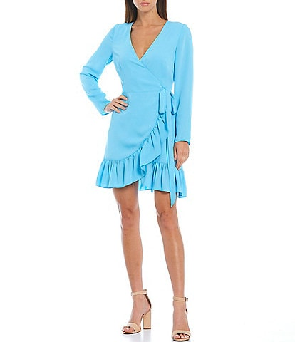 Gianni Bini Georgina Long Sleeve Ruffle Wrap Dress
