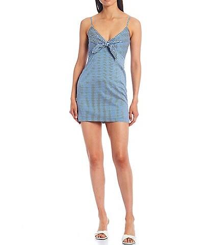 Gianni Bini Gina Gingham Tie Front V-Neck Sleeveless Dress