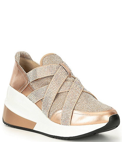 Gianni Bini Glendaa Metallic Chunky Rhinestone Embellished Straps Slip-On Wedge Sneakers