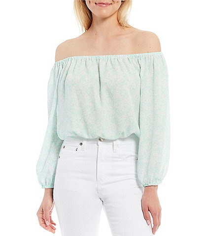 Gianni Bini Hadley Georgette Long Sleeve Off-The-Shoulder Blouse