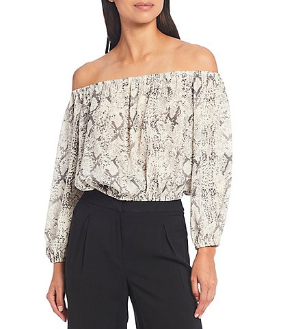 Gianni Bini Hadley Snake Print Off-The-Shoulder Long Sleeve Cropped Blouse