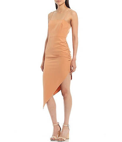 Gianni Bini Harling Crepe Square Neck Asymmetrical Midi Dress