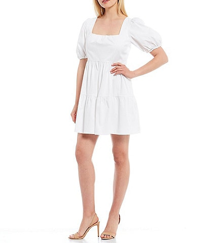 Gianni Bini Hayden Square Neck Puff Sleeve Tiered Babydoll Mini Dress