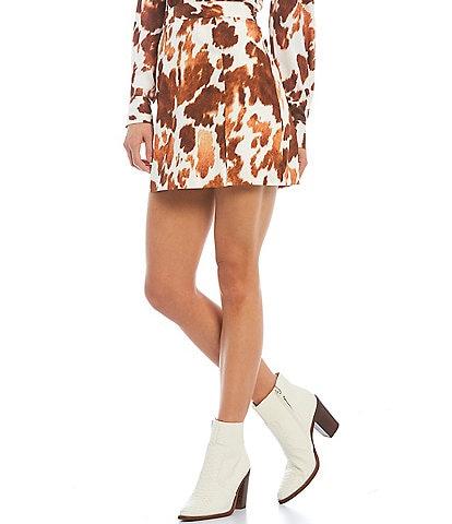 Gianni Bini High Waist Coordinating Mini Cow Print Skirt