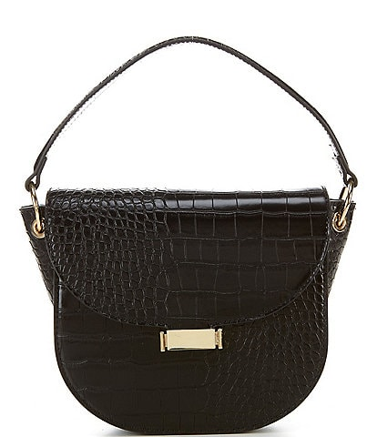 Gianni Bini Hollis Black Croco Saddle Bag