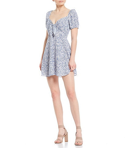 Gianni Bini Ivy Puff Sleeve Sweetheart Neck Mini Dress