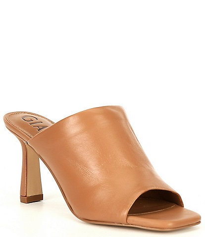 Gianni Bini Jaelianah Leather Square Toe Mules