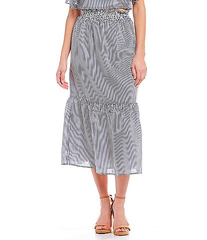 Gianni Bini Jenna Smocked Stripe Coordinating Midi Skirt
