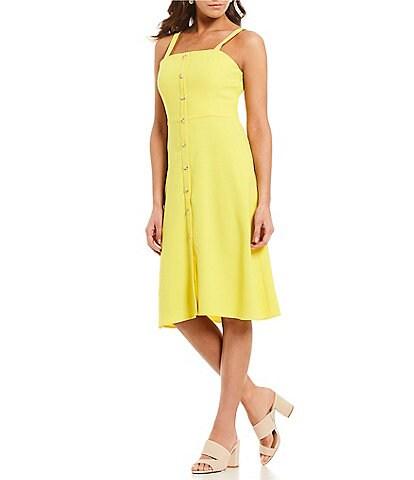 fe0526014c6b Gianni Bini Jenny Square Neck Button Front A-Line Midi Dress