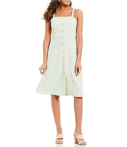 Gianni Bini Jenny Square Neck Button Front A-Line Midi Dress