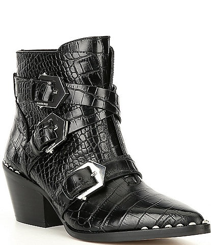 Gianni Bini Jeydda Croc Embossed Buckle Western Booties