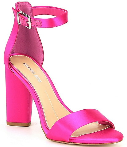 Gianni Bini Joenah Satin Ankle Strap Block Heel Dress Sandals 2fa4a674c
