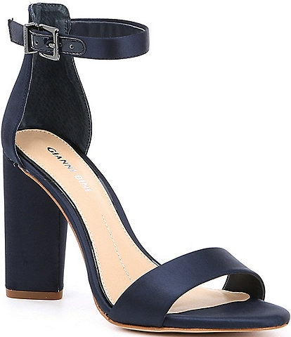 Gianni Bini Joenah Satin Ankle Strap Block Heel Dress Sandals