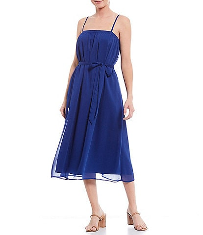 Gianni Bini June Square Neck Sleeveless Tie Waist Chiffon Midi Dress