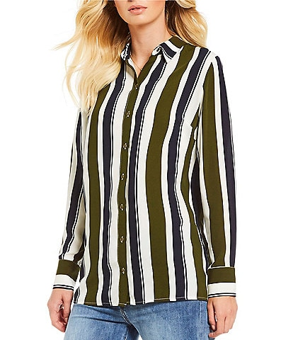 Gianni Bini Karlie Mixed Stripe Button Front Shirt