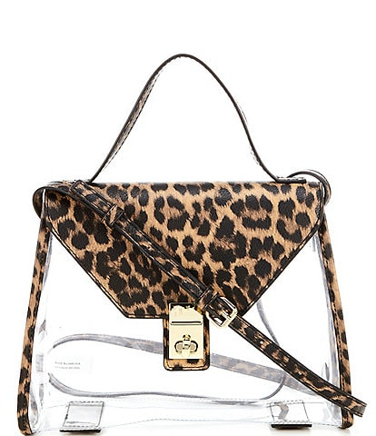 Gianni Bini Kasey Clear and Leopard Printed Flap Crossbody Bag
