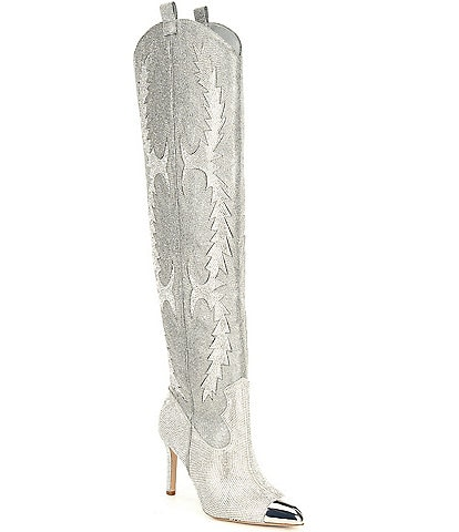 Gianni Bini KatyannaTwo Rhinestone Embellished Over-the-Knee Western Dress Boots