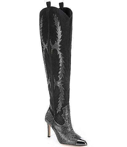 Gianni Bini KatyannaTwo Wide Calf Rhinestone Embellished Over-The-Knee Western Dress Boots