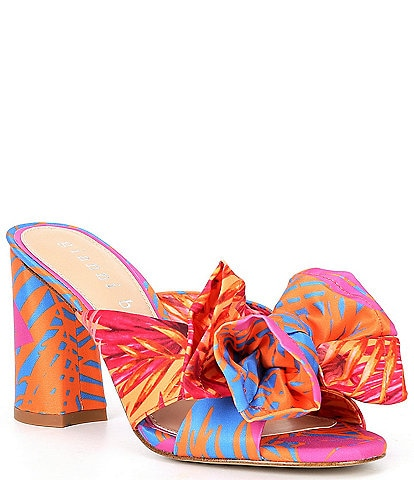 Gianni Bini Keily Printed Bow Detail Block Heel Dress Mules