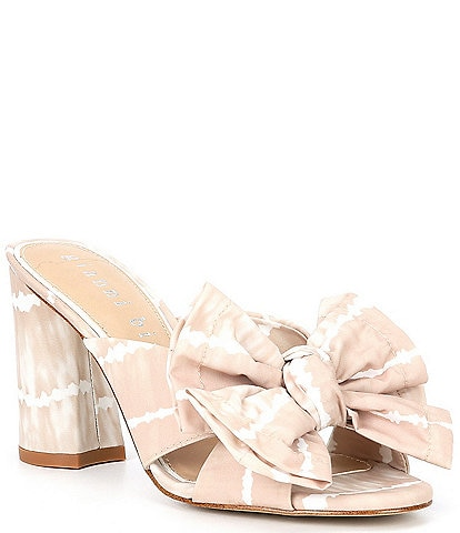 Gianni Bini Keily Tie-Dye Bow Detail Block Heel Mules
