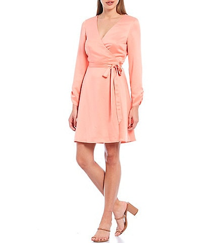 Gianni Bini Kellan Satin V-Neck Long Sleeve Tie Waist Wrap Dress