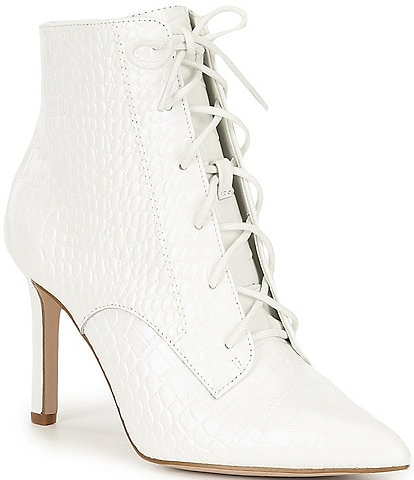 Gianni Bini Khleoe Croco Embossed Lace Up Booties