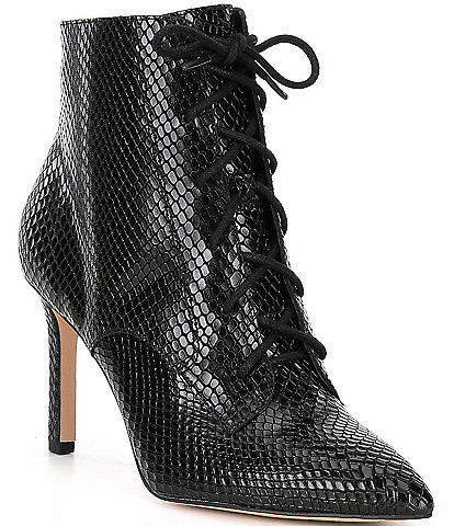 Gianni Bini Khleoe Snake Embossed Lace Up Booties