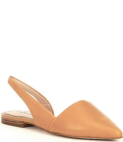Gianni Bini Kiranne Leather Sling Back Point Toe Flats