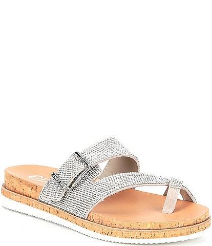 Gianni Bini KlaudyTwo Rhinestone Embellished Buckle Toe-Loop Sandals
