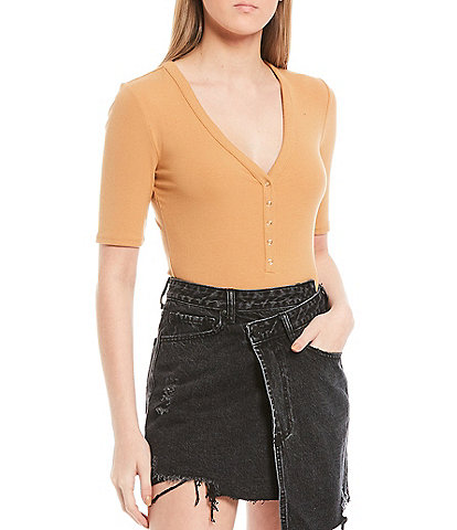 Gianni Bini Knit Henley V-Neck Bodysuit