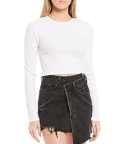Gianni Bini Knit Sady Long Sleeve Crop Tee