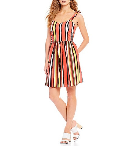 Gianni Bini Kristin Poplin Stripe Fit & Flare Dress