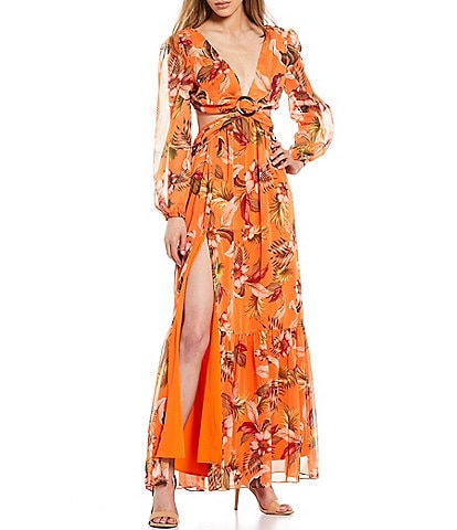 Gianni Bini Kyra V-Neck Long Sleeve Cutout Maxi Dress