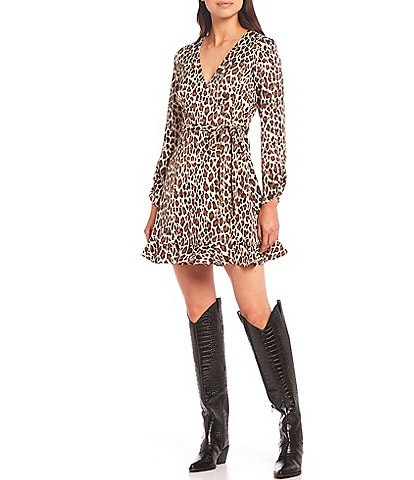 Gianni Bini Laura Leopard Print Georgette Crepe Ruched Long Sleeve Ruffle Hem Wrap Dress