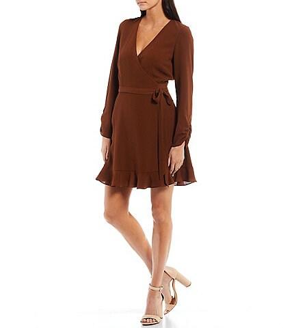 Gianni Bini Laura Long Sleeve V-Neck Mini Wrap Dress