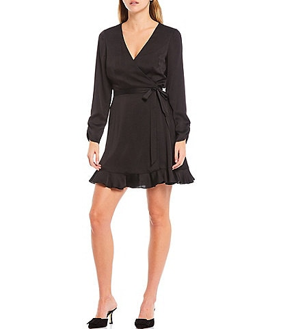 Gianni Bini Laura Georgette Crepe Ruched Sleeve Ruffle Hem Wrap Dress