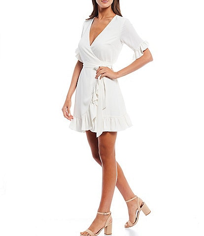 Gianni Bini Lauren Short Sleeve V-Neck Wrap Dress