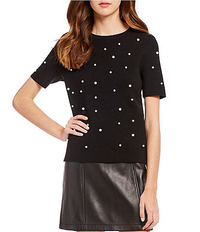 Gianni Bini Lea Pearl Short Sleeve Sweater
