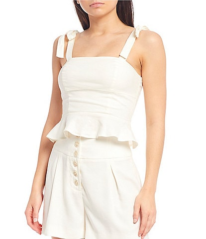 Gianni Bini Lee Square Neck Sleeveless Peplum Blouse