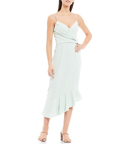 Gianni Bini Lee V-Neck Spaghetti Strap Fluted Asymmetric Hem Midi Sheath Dress