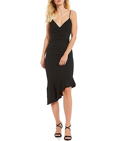 Gianni Bini Lee V-Neck Spaghetti Strap Fluted Asymmetric Hem Sheath Midi Dress